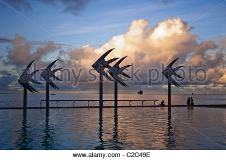 Public swimming lagoon Cairns North Queensland Australia - Stock Photo