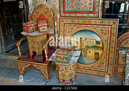 Damascus furniture painting painter paint  Syria Bazaar Souk Souq market shopp - Stock Photo