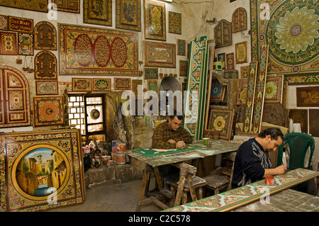 Damascus furniture painting painter paint  Syria Bazaar Souk Souq market shop - Stock Photo