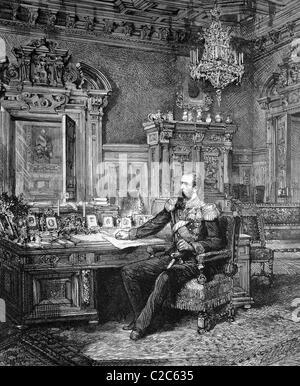 Prince Alexander of Bulgaria (1857-1893), in his study, historical illustration, circa 1886 - Stock Photo