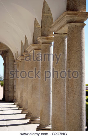 Passage of antique columns in 'San Lorenzo del Escorial's abbey'. Spain - Stock Photo