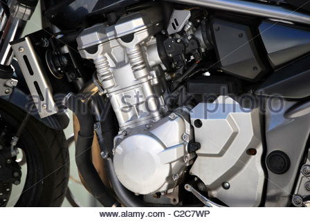 Motorcycle engine. Mechanical and repair concept - Stock Photo