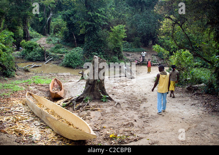Dugouts canoe in a refugee camp ,Betou ,Ubangi River ,Republic of Congo - Stock Photo