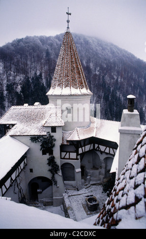 Looking down on inner courtyard of Bran castle known as Dracula's castle. - Stock Photo
