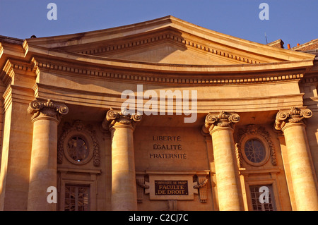 Facade of Sorbonne University. Rue Soufflot. Paris. France. (1772) - Stock Photo