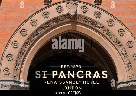 St Pancras Renaissance luxury five star hotel entrance arch & sign in the refurbished Victorian now Euro Star train - Stock Photo