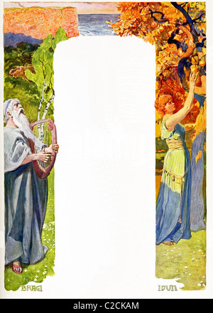According to Norse mythology, Bragi (left) was the husband of Idun,  whose task was to watch over the golden apples