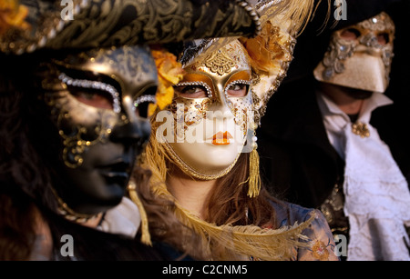 Face in a crowd, The carnival, Venice Italy - Stock Photo