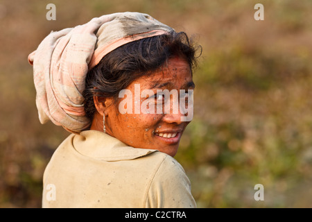 Smiling fishing woman with scarf from the Mishing tribe wearing Assamese scarf, Majuli Island, Assam, India - Stock Photo