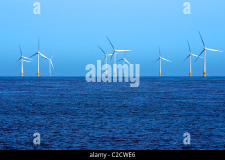 Great Yarmouth, Norfolk. Off Shore Wind Turbines on Scrooby Sands, Great Yarmouth - Stock Photo