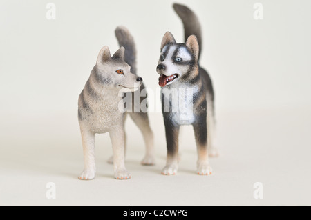 Wild wolves toys plastic animals - Stock Photo