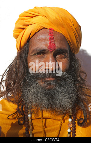 Portrait of a sadhu, a Hindu holy man, dressing traditional clothes, India - Stock Photo