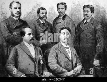 The Ambassadors from Madagascar visiting England, historic image, 1883 - Stock Photo