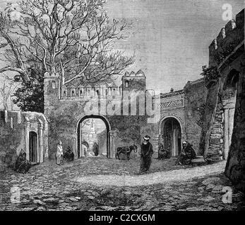 One of the gates to the bazar or market in Tangier, Morocco, historic image, 1883 - Stock Photo