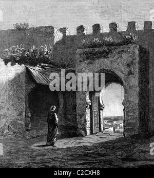 Archway in Tangier, Morocco, historic image, 1883 - Stock Photo