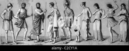 Greek costumes: from left, 1. chiton 2. exomis 3./4. himation 5. chlamys 6. children's dress 7./8. women's chiton - Stock Photo