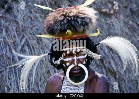 Dani tribesman, Baliem Valley, Papua, Indonesia - Stock Photo