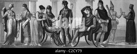 Fashion, costumes from ancient times, from left: Phrygian women's costume, old Lydian women's costume, Coan robe, - Stock Photo