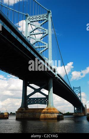 The Benjamin Franklin Bridge Spans the Delaware river, connecting Philadelphia, PA to Camden, NJ. - Stock Photo