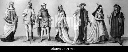 Cultural history, from left: two elegant costumes from 1380, costume with bells from 1400, Zatteltracht costume - Stock Photo