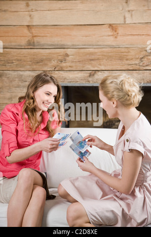 Woman borrow money - Stock Photo