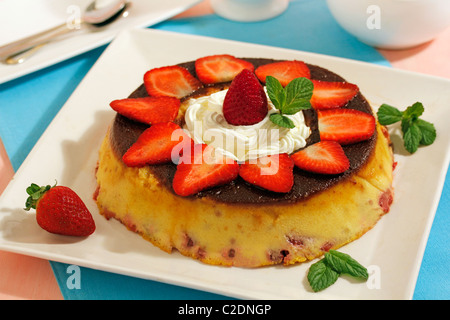 Strawberry pudding. Recipe available. - Stock Photo