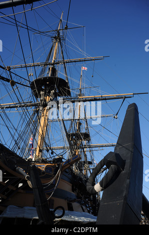 Detail of the bow and anchor of HMS Victory. - Stock Photo