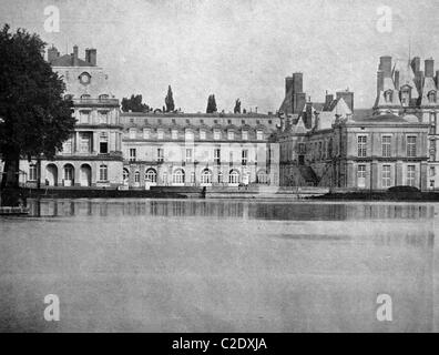 One of the first autotypes of the Palace of Fontainebleau, France, historical photograph, 1884 - Stock Photo