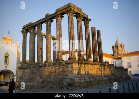 Ancient Roman temple of Diana, Evora, Portugal in Alentejo region, Unesco World Heritage Site - Stock Photo