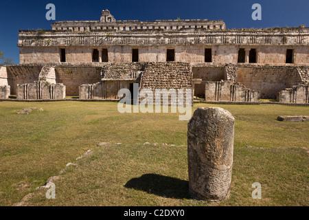 El Palacio or The Palace at the Puuc style Maya ruins of Kabah along the Puuc Route in the Yucatan Peninsula, Mexico. - Stock Photo