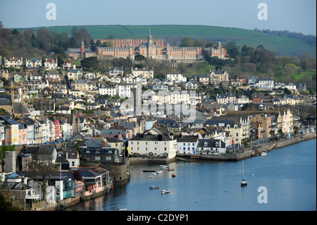 Dartmouth Devon Uk with Dartmouth College at top - Stock Photo