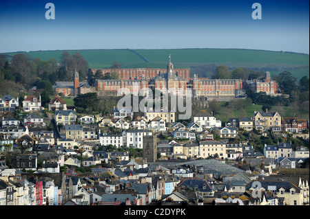 Dartmouth Devon Uk with Dartmouth Naval College at top - Stock Photo