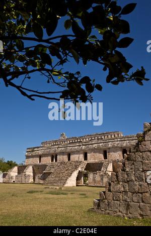 El Palacio or The Palace at the Maya ruins of Kabah along the Puuc Route in the Yucatan Peninsula, Mexico. - Stock Photo