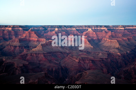 USA, Arizona, sunset on the south rim of the Grand Canion seen from the Mother Point - Stock Photo