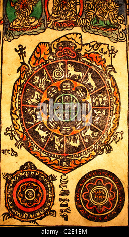 Tibetan Buddhist Zodiac Signs Symbols On Paper Lampshade Handmade In
