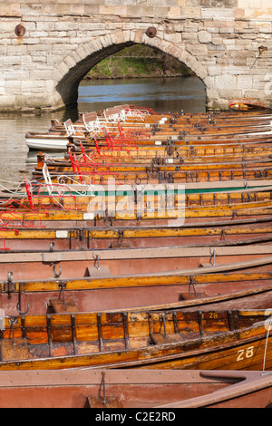 Rowing boats for hire on the River Avon at Stratford upon Avon, Warwickshire, England, UK - Stock Photo