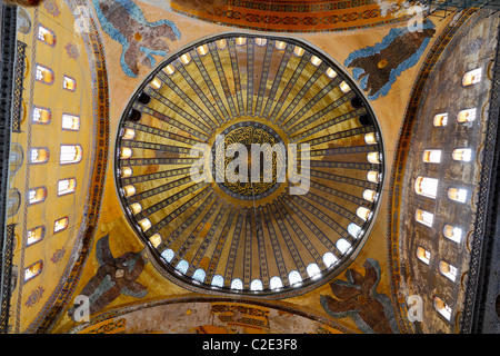 richly decorated main Cupola of mosque Hagia Sofia in Istanbul,Turkey - Stock Photo