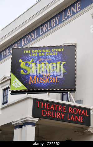 Shrek The Musical Theatre Royal Drury Lane London cartoon character musical theater live on stage adaption children - Stock Photo