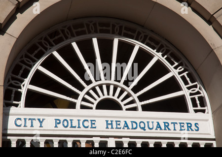 City Police Headquarters sign at Bootle Street Police Station in the centre of Manchester. - Stock Photo