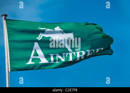Aintree Flag against Blue Sky - Stock Photo