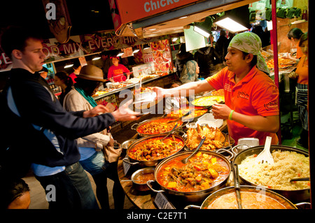 Food stalls in The Stables Market, Camden, NW1, London, United Kingdom - Stock Photo