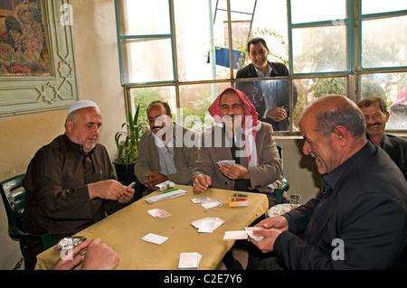 Damascus Syria coffee tea house card game old men - Stock Photo