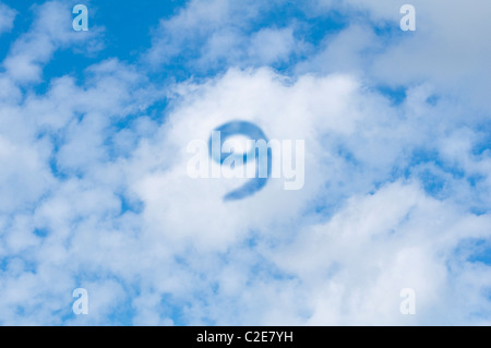 Cloud 9  - white clouds with blue sky and the number nine. - Stock Photo