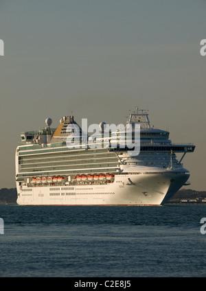 P&O cruise ship Azura leaving Southampton Hampshire England UK - Stock Photo