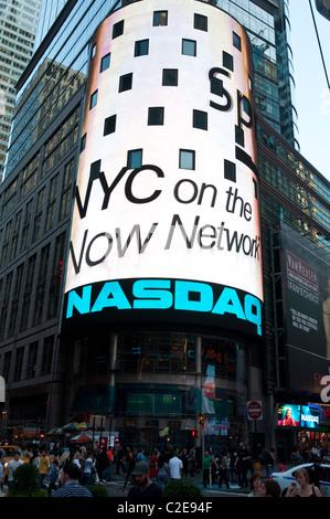 NASDAQ torus building advertisement on Time Square, Manhattan, New York City, USA