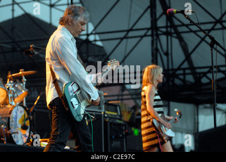 Sonic Youth performs their album 'Daydream Nation' live in concert at McCarren Park Pool in Williamsburg, Brooklyn - Stock Photo