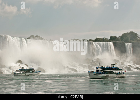 The Niagara Falls view from the water level during bright day sunny day, Ontario, Toronto Canada - Stock Photo