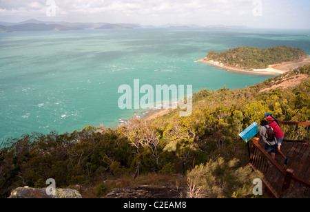 View over Planton Island and the Whitsunday Passage from Spion Kop on South Molle Island - Stock Photo