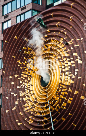 Hand and smoke, The Metronome, art wall at 1 Union Square South by Kristen Jones and Andrew Ginzel, Manhattan, New - Stock Photo
