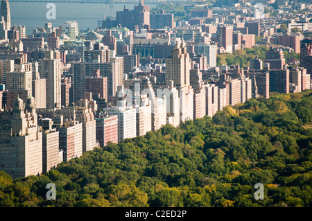 Aerial view of Central Park and row of Upper West Side buildings, Manhattan, New York City, USA, NYC, NY - Stock Photo
